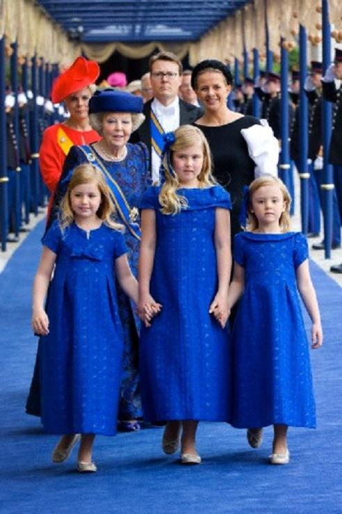 Dutch Princess Beatrix (back, L-R), Princess Laurentien, Prince Constantijn and Princess Mabel leaving with Crown Princess Amalia (front C), Princess Alexia (front L) and Princess Ariane