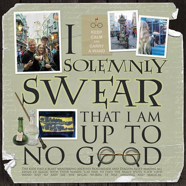 I solemnly swear that I am up to no good - digital scrapbook page by Annette Pixley using School of Wizardry by @mscrapsgalore