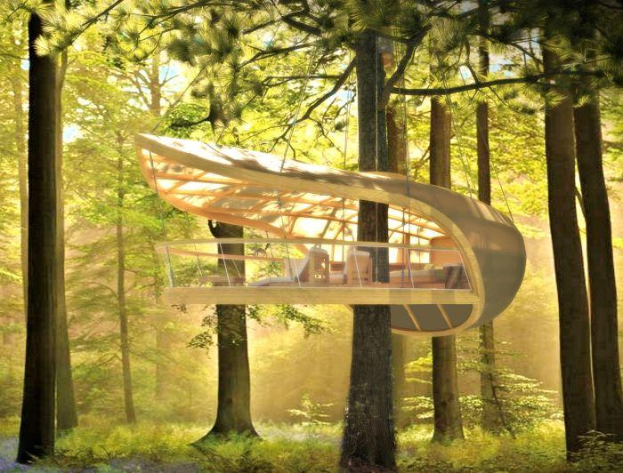 Домик на дереве в стиле парусника, который не вредит дереву и не ограничивает его рост.