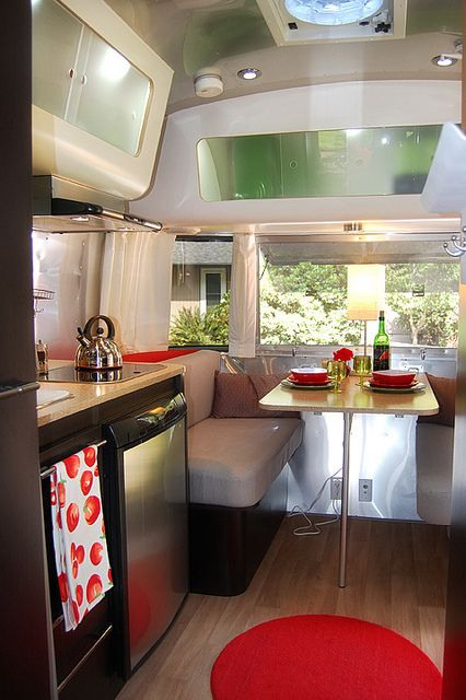 A very cool caravan . . . Airstream Bambi dining area.