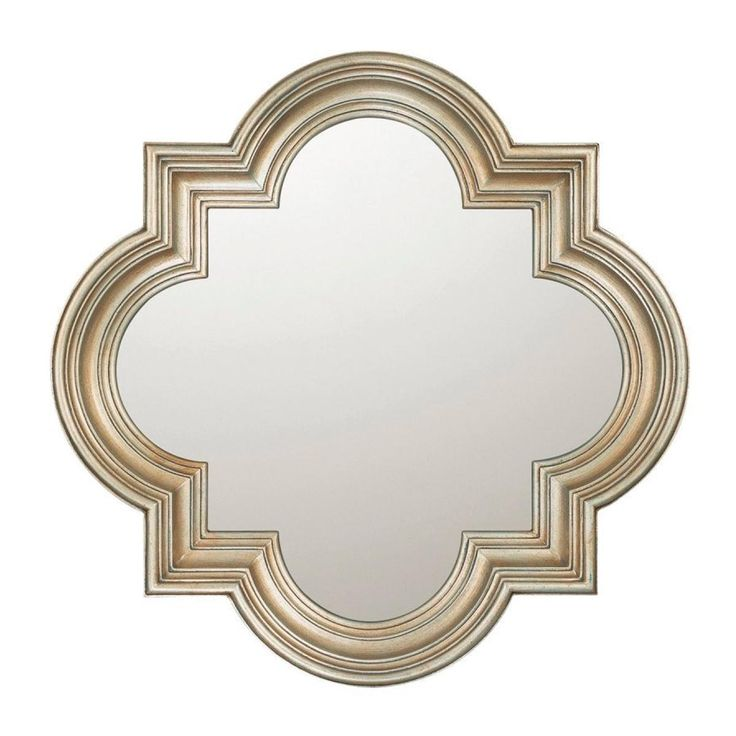 """Quatrefoil Mirror A fun quatrefoil shaped mirror will jazz up your bathroom. Gold Leaf or Aged Silver finish. Carved wood frame. (34""""Hx34""""Wx3.5""""D)"""