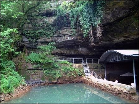 Lost River Cave in Kentucky. There's an underground cave boat tour when the water level is high enough (it was too low when we went)