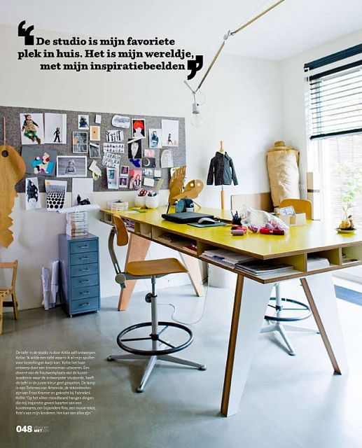 Standing-height work table by Buisjes En Beugels // cubby organization is great for pilers
