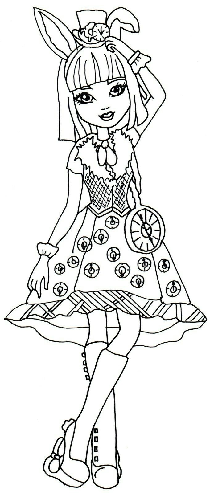 Lizzie hearts coloring page - Free Printable Ever After High Coloring Pages Bunny Blanc