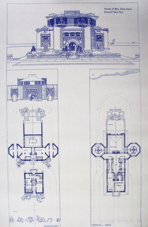 69 best blueprints images on pinterest architectural drawings frank lloyd wright devin house blueprint by blueprintplace on etsy malvernweather Choice Image