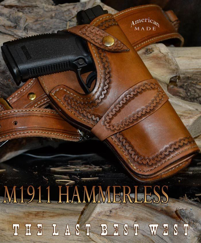 M1911 Hammerless Holster classic western holster for a modern polymer semi-auto side arm The polymer semi-autos tend to be a wider design so is our holster