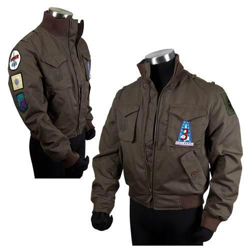 The Battlestar Galactica Lee Adama's Bomber Jacket is a highly detailed, fully functional prop replica, complete with screen-accurate replication of the original Viper and Vigilante patches used in the classic Battlestar Galactica TV series. Fully lined with elastic cuffs and zipper storm-flap.