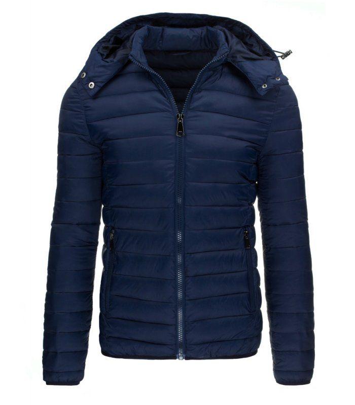 Tmavomodrá bunda pánske, zimná s kapucňou. Zapínanie na lesklý zips. Odnímateľná kapucňa regulovaná stopermi. Dve vonkajšie vrecká. Jedno vnútorné vrecko. Pohodlný strih. Vhodné ako neformálne oblečenie.