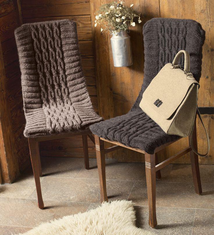 Чехлы на стулья с узором из «кос» - схема вязания спицами. Вяжем Все для дома на Verena.ru