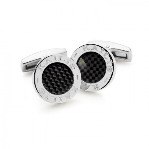 Kailis cufflinks featuring carbon fibre set in strong and lightweight titanium with 'KAILIS' written around the edge.