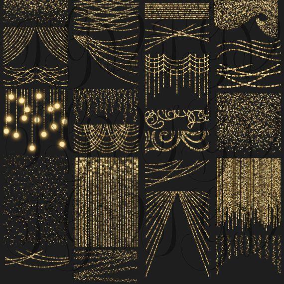 gold bokeh string lights digital clipart overlay by itgirldigital - Digital Christmas Lights