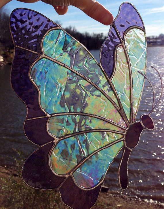 Made to Order Sweveneers Iridescent Clear & Violet Butterfly Stained Glass Sun Catcher