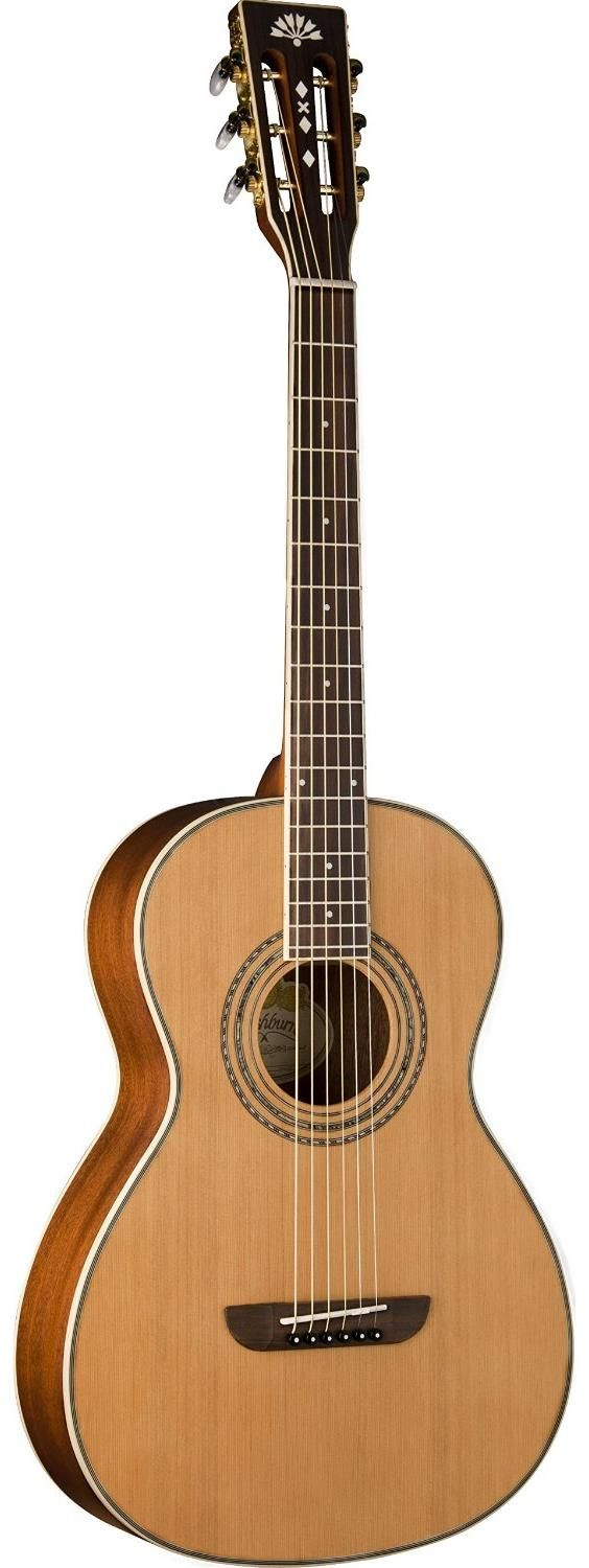 "Washburn WP11SNS Parlor Guitar. It features a solid cedar top paired with mahogany back and sides. The length of the neck follows traditional 24.75"" short scale format, while the nut width goes for a more comfortable and narrower width of 1.732"". For a detailed guide to parlor guitars see https://parlor.guitars/blog/roundup-best-parlor-guitars"