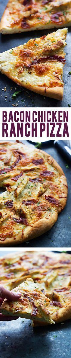 Easy, cheesy, homemade bacon chicken ranch pizza. | Creme de la Crumb