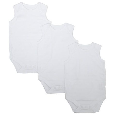 Buy John Lewis Organic Cotton Sleeveless Bodysuit, Pack of 3, White Online at johnlewis.com £5