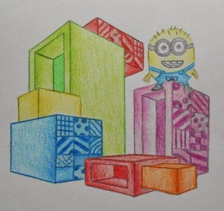 Art lessons from Belgium: Cubes in 2 point perspective