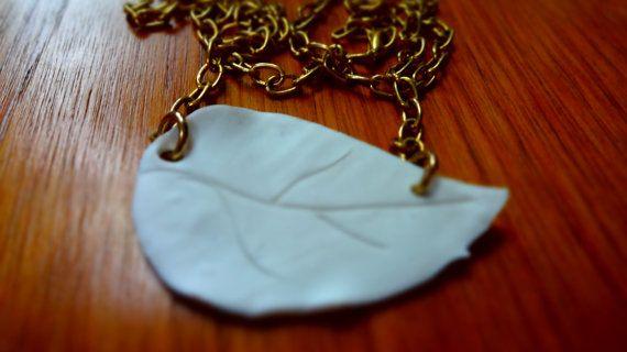 Hand made polymer clay white leaf statement by Kittycrabtree, €15.00
