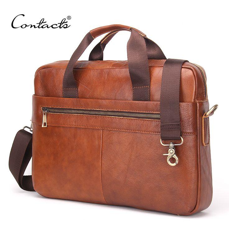 """CONTACT'S 2016 Mode Lederen Mannen Aktetas Koeienhuid mannen Messenger Tassen 14 """"Laptop Zakelijke Tas Luxe Advocaat Handtassen"""