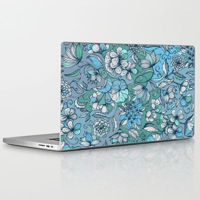 Hand drawn Floral in Blue, Grey & Mint Green Laptop & iPad Skin $30.00