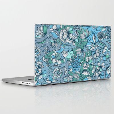 Hand drawn Floral in Blue, Grey & Mint Green Laptop & iPad Skin $30.00