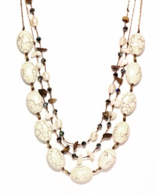 Beautiful white turquoise, pearl, crystal and Tiger's eye necklace