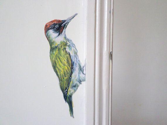 Wall sticker woodpecker, bird decal, quirky decals, woodpecker painting…