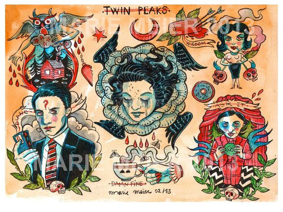 Twin Peaks tattoo flash sheet, limited edition by Marie Meier $55