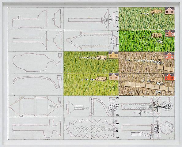 Leonard Rickhard <em>Analytisk bilde med gress og figurer</em><br />Olje på papp og tre, 66x81 cm