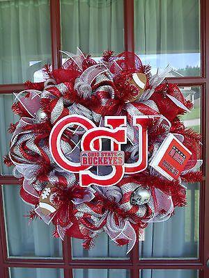 Crazyboutdeco Ohio State Buckeye Fan Sliver and Red Deco Mesh Door Wreath