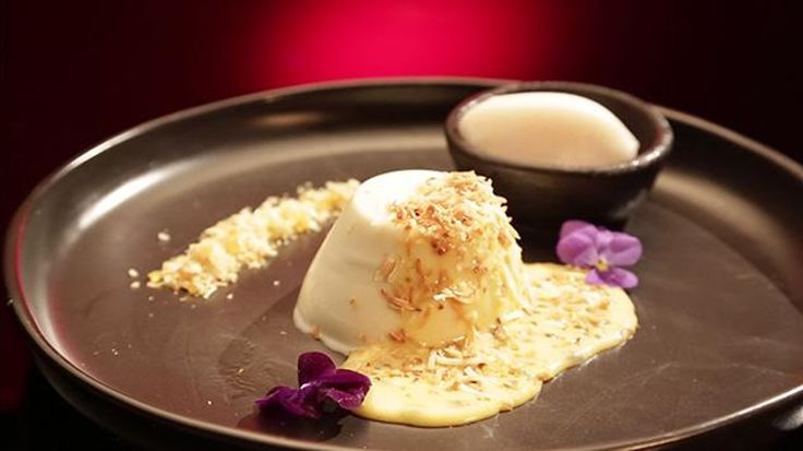 Coconut Panna Cotta with Passion Fruit Curd and Lychee Sorbet
