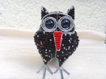 Handcrafted beaded owl, black, small
