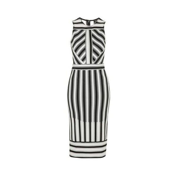 TopShop Airtex Striped Midi Dress ($100) ❤ liked on Polyvore featuring dresses, monochrome, stripe midi dress, night out dresses, striped party dress, sleeveless dress and midi dress