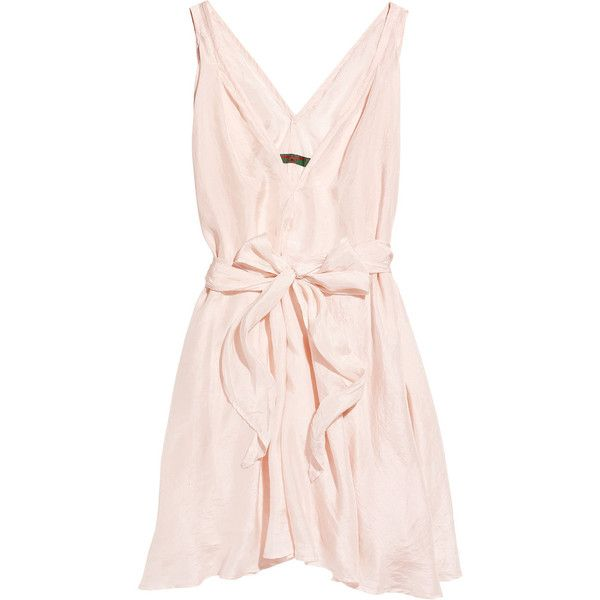 Katharine Hamnett Gina washed silk-satin dress ($180) ❤ liked on Polyvore featuring dresses, vestidos, pink, vestiti, women, pink dress, pink cocktail dress, katharine hamnett, silk satin dress and pale pink dress