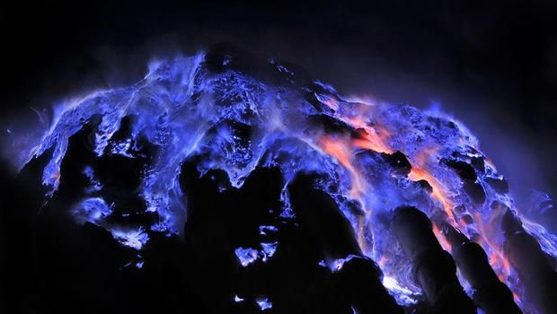 In Ethiopia's Danakil Depression, the sulfur dust in the soil of a hydrothermal vent ignites to form blue flames