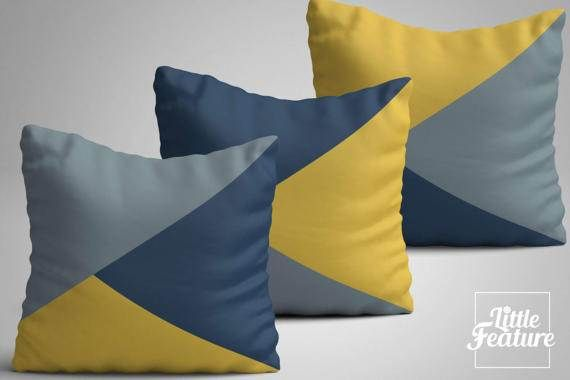 Set of three geometric cushion blue yellow grey by LittleFeature