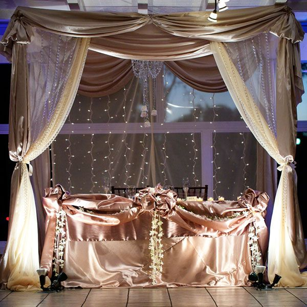 draped sweetheart table for bride and groom my colors and different fabricstexturesflowers etc of course