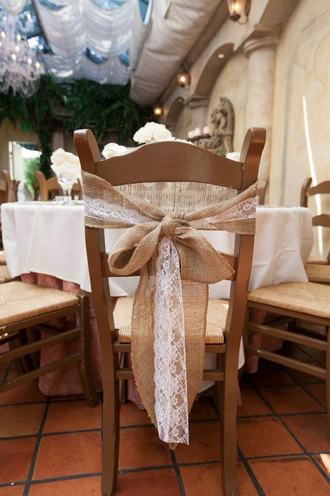 Pretty burlap and lace chair