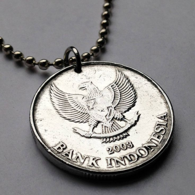Excited to share the latest addition to my #etsy shop: 2003 Indonesia 500 Rupiah coin pendant Garuda Pancasila mythical golden eagle Indonesian myth Jasmine flower Kelapa Sawit necklace n001974