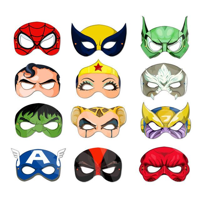 DIY Printable Masks - Super Heroes And Villains Collection 1 Face