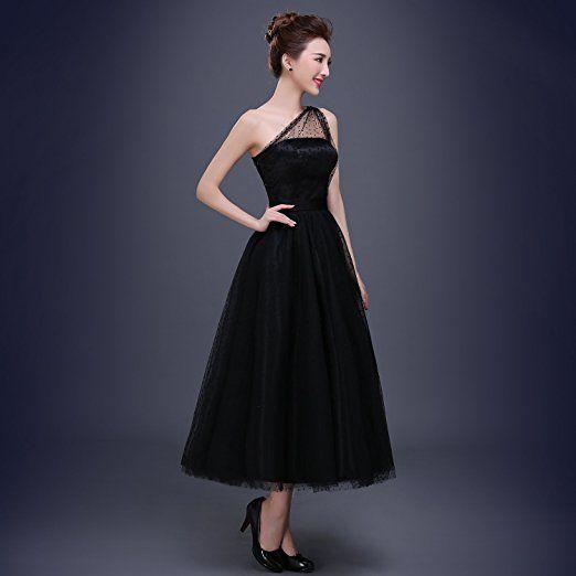 2016 Sexy Robe noir de cocktail / cérémonie / soirée / mariage longue pour femme - Une épaule de lace, très spécial (M - FR 36): Amazon.fr: Vêtements et accessoires