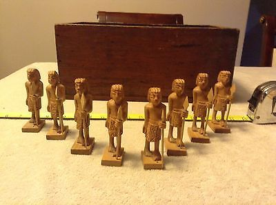vintage carved wooden figural chess set