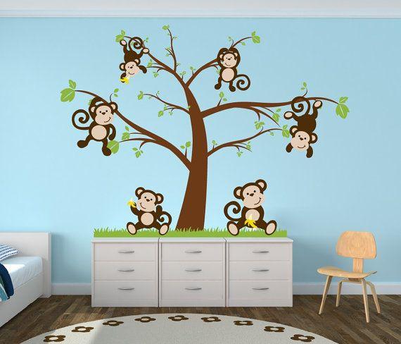 Nursery Tree Decal With Monkeys Decor By Newyorkvinyl 52 00 Baby Pinterest Monkey And