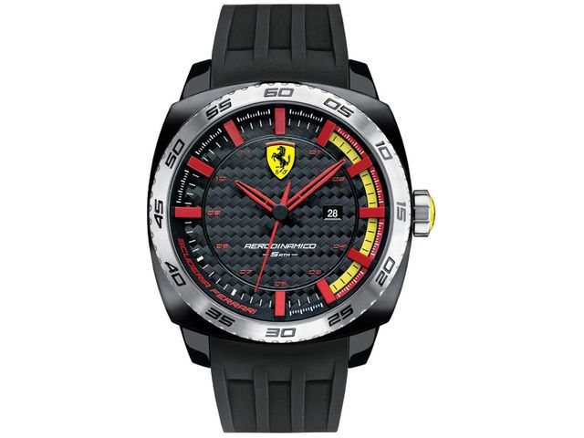 FERRARI MEN'S RUBBER BAND STEEL CASE QUARTZ BLACK DIAL ANALOG WATCH 0830201