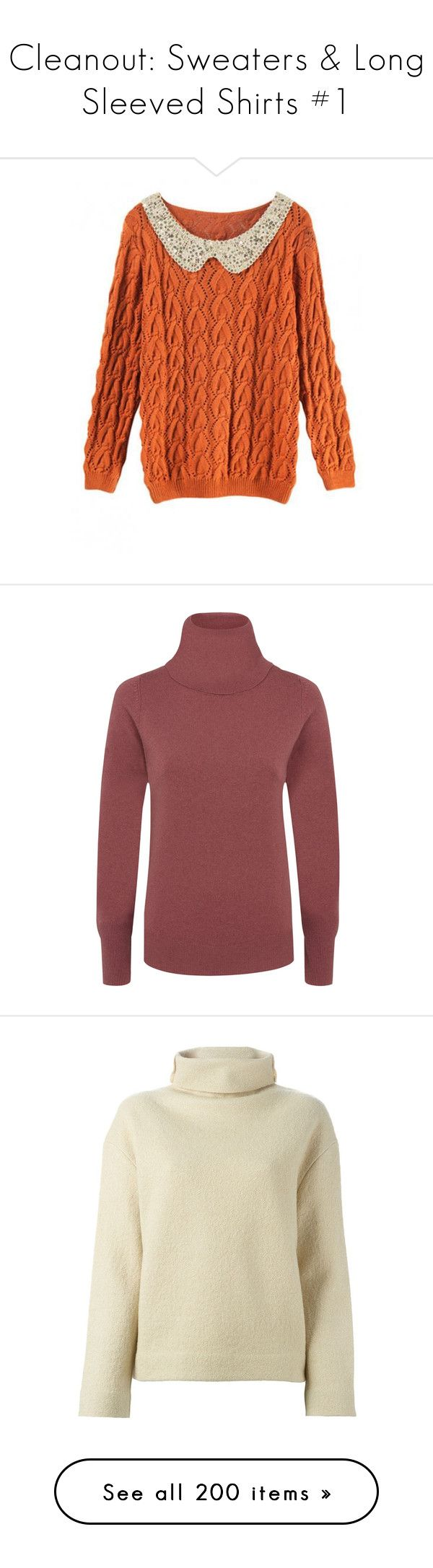 """""""Cleanout: Sweaters & Long Sleeved Shirts #1"""" by mscody ❤ liked on Polyvore featuring tops, sweaters, shirts, orange shirt, orange top, orange sweater, twist shirt, sequin top, dark rose and slouchy sweater"""
