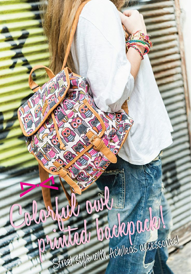 Colorful owl printed backpack! Street style with Achilleas accessories!
