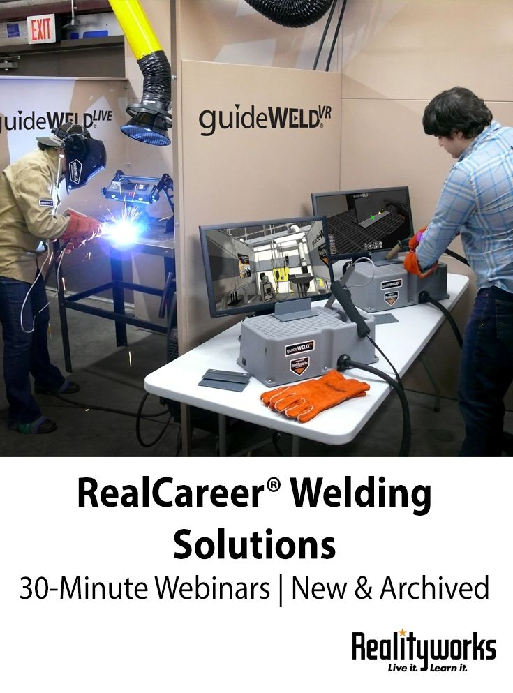 From the best ways to utilize technology in a welding lab to curricula discussions and career exploration, our RealCareer® webinars address a variety of topics related to our RealCareer® Welding Solutions products and curricula.