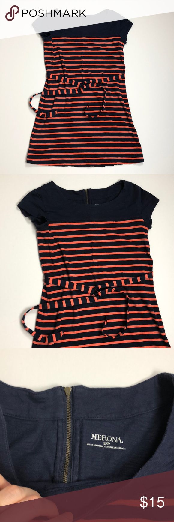 """Merona Navy And Coral Striped Dress Such a soft and lovely dress! Works for the office or casual on the weekends. 60/40 cotton and modal blend. Measures 30"""" long and falls to just above the knee. Gently worn and laundered just a few times. No fade. EUC Merona Dresses"""