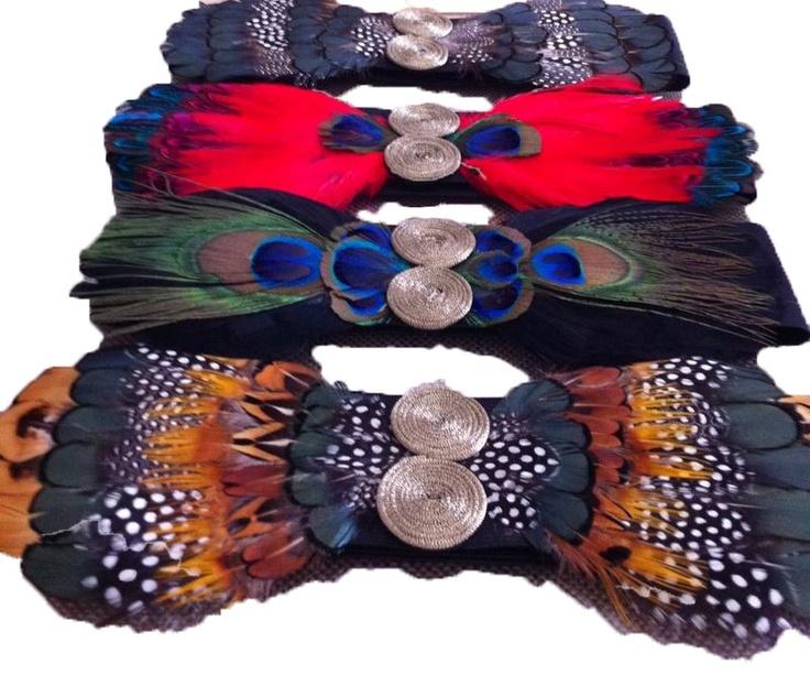 Cinturones de Plumas de colores.PANAMBI.