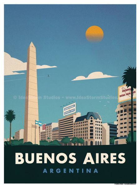 Buenos Aires Poster by IdeaStorm Studios ©2017. Available for sale at ideastorm.bigcartel.com