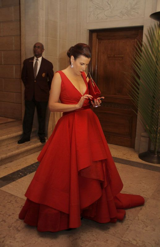 @dkny pr girl rocking her red gown at the Frick Young Fellows Ball
